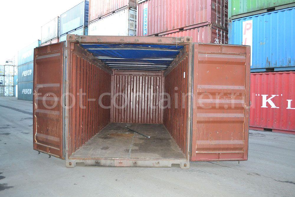 Контейнер 20 футов c верхом из брезента (20' OT) б/у двери открыты