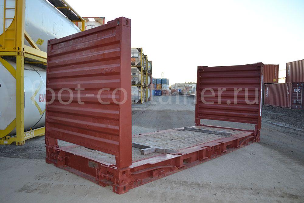 морской контейнер 20 футов flatrack бу сбоку