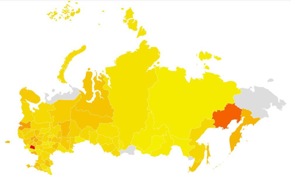 График 2. Города поиска в России